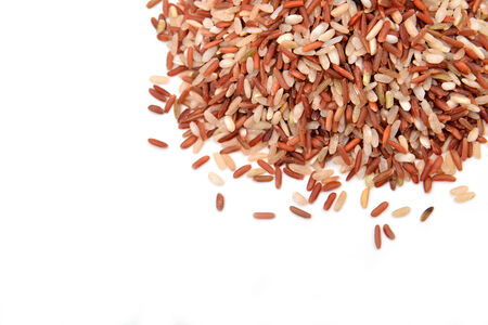 dry cleaned: milled rice imperfectly cleaned on white background