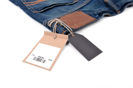 price tag with barcode on  jeans textured