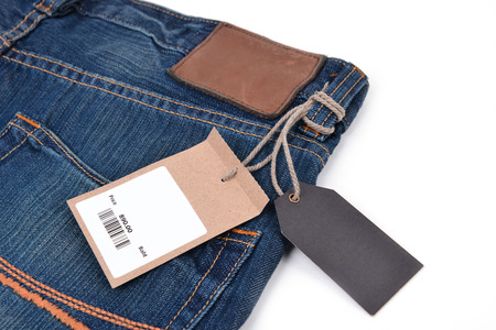 price tag with barcode on  jeans textured photo