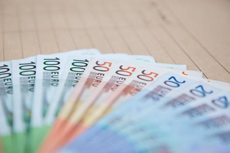 20 euro: euro banknotes on brown envelope