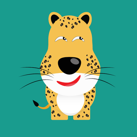 yeloow: tricky leopard gartoon character vector Illustration