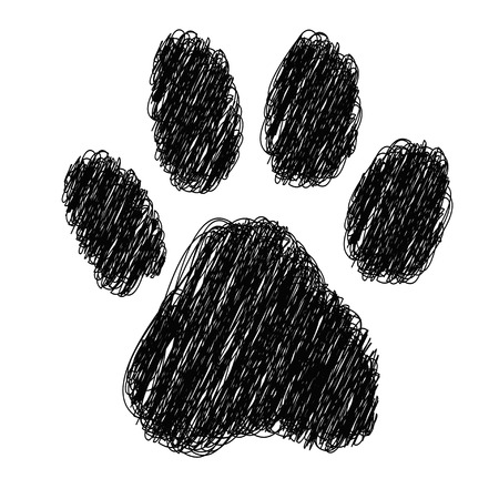 panthera: tiger footprint with striped on white background
