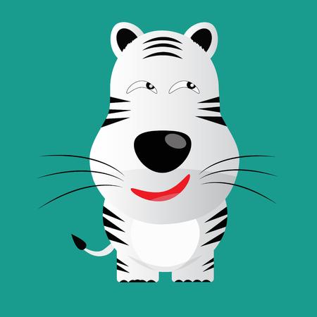 panthera: difficile bianco tigre del Bengala carattere gartoon vettore Vettoriali