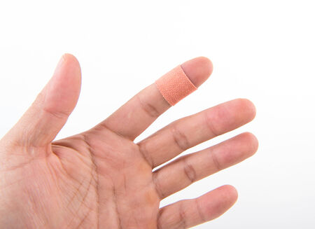 adhesive bandage on the injury finger photo