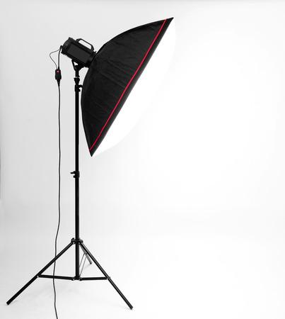 flash light: empty studio gray background and flash light