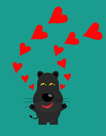 tricky: tricky black leopard gartoon character with heart vector