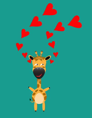 tricky: tricky giraffe gartoon character with red heart vector Illustration