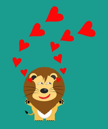 tricky: tricky lion gartoon character with red heart vector Illustration