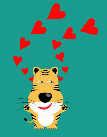 panthera: tricky tiger gartoon character with red heart vector