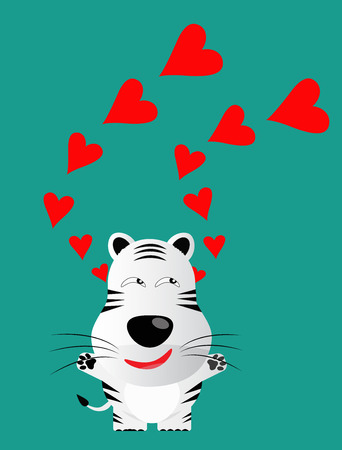 panthera: tricky white bengal tiger gartoon character with red heart vector