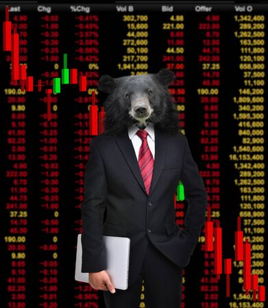 bear market: business man with bear head in tock investment concept