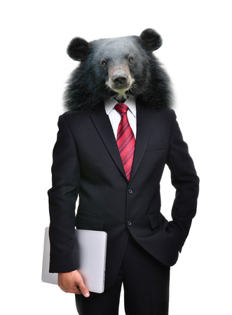 business man with bear head isolated on white background