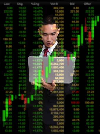 successful investment: business man in bull market stock investment concept