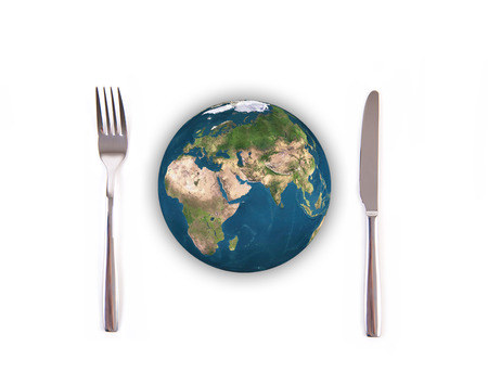 feed the poor: World globe ball with fork and knife isolated on white background