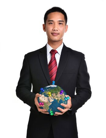 bussiness man: bussiness man hold the earth isolated on white background. Elements of this image furnished by NASA.