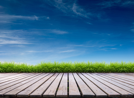 grass: wooden terrace with fresh spring green grass and blue sky