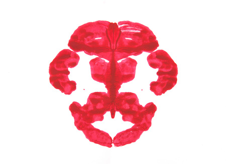 evaluating: Abstract symmetric painting, Rorschach test Stock Photo