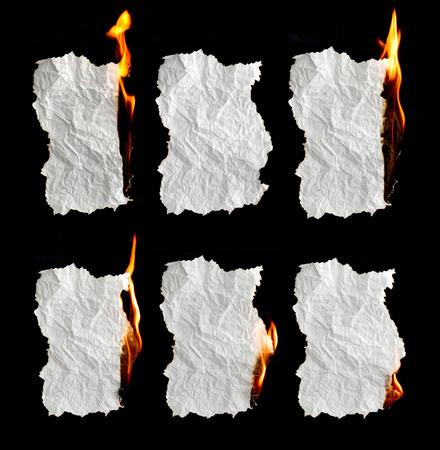 burning: paper burning collection on black background