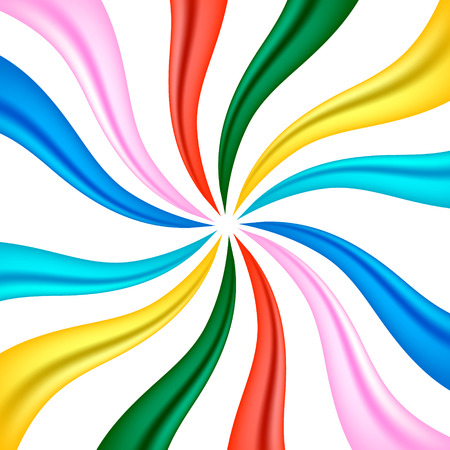 abstract swirls: colourful fabric ribbon background concept Illustration