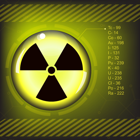 caution chemistry: nuclear radiation warning symbol vector Illustration