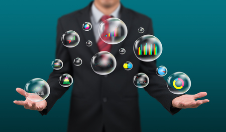 show business: man show business graph in bubble on hand