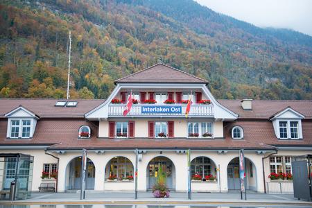 interlaken: INTERLAKEN, SWITZERLAND - OCTOBER 20, 2015 : Scenery of Town of Interlaken, Switzerland. Editorial