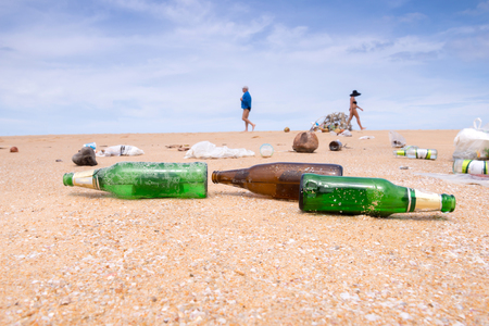 polution: bottles and garbage waste on the beach Stock Photo