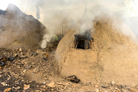 incinerator: native charcoal incinerator in countryside of thailand