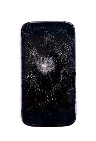 Mobile phone screen is cracked isolated on white background