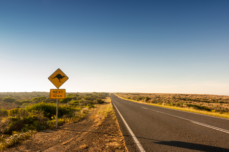 kangaroo crossing road sign warning drivers in  Australia