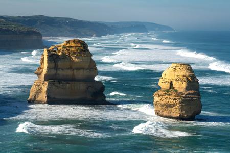 two of the twelve apostles rocks on great ocean road Stock Photo