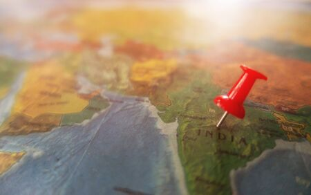 locations marked with red pin on world map Stock Photo
