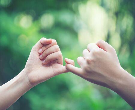 le mani si agganciano il mignolo dell'altro sullo sfondo della natura, concetto di promessa