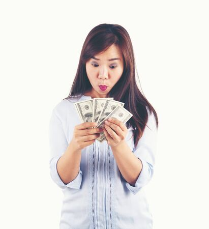 asian woman taking a lot of money