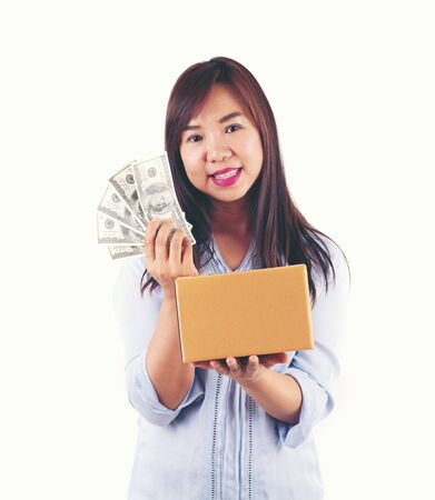 asian woman taking a lot of money and parcel box
