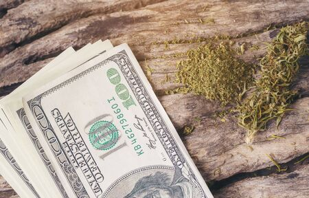 dried cannabis medical marijuana with dollar banknote