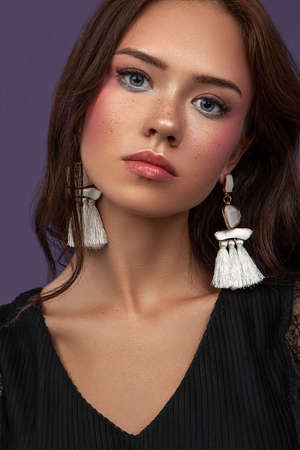 beauty portrait of young female with makeup Stock Photo