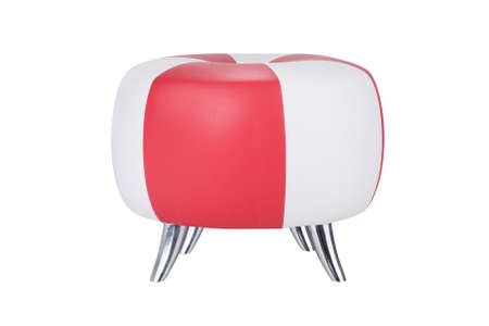 white and red stool chair on white background isolate photo