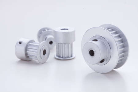t5: timing pulleys on white background Stock Photo