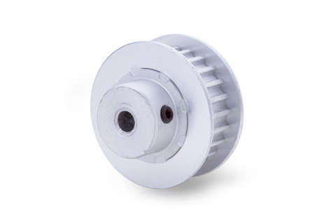 t5: timing pulleys on white  Stock Photo