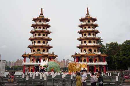 balustrades: KAOHSIUNG -TAIWAN, JUNE 28, 2014: The dragon and tiger pragodas. JUNE 28, 2014 in Kaohsiung, Taiwan. Dragon and tiger pragodas are famous place tourism in Kaohsiung.
