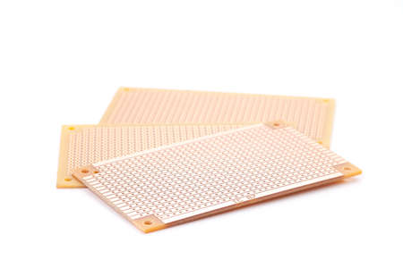 printed material: Printed circuit board kits on white background, isolated Stock Photo