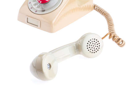 antique telephone: handset of antique telephone placed on isolate white background