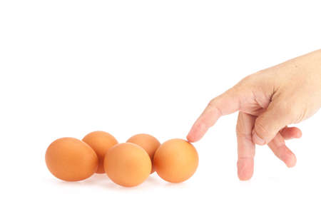 Hand touch egg on white background photo