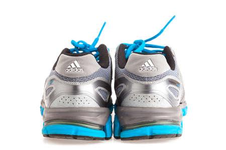 adidas: SONGKHLA , THAILAND - JANUARY 27, 2015 : The back view of ADIDAS response cushion22 sport shoe, used. Isolated on white.
