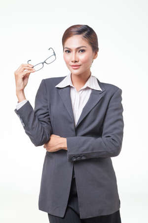 carreer: Asian business woman wear glasses with sexy look. on white background