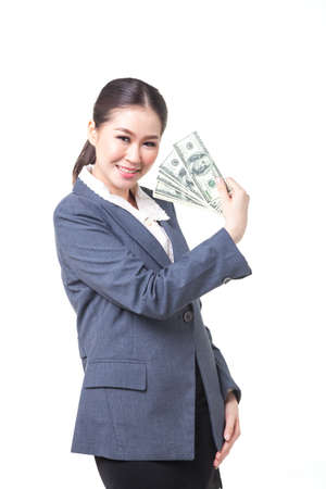 carreer: asian business women hold US dollar bank note in hand. shot on white background