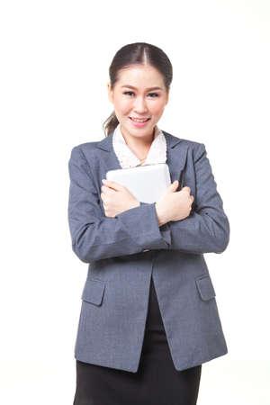 carreer: asian business women working hold digital tablet. shot on white background