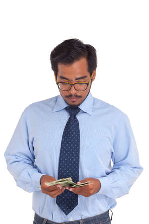 counting money: Businessman counting money, US dollar.