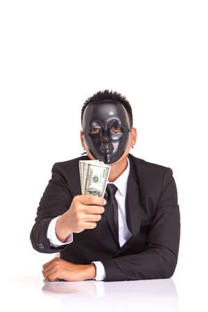 bank note: businessman with black glossy fancy mask holding bank note